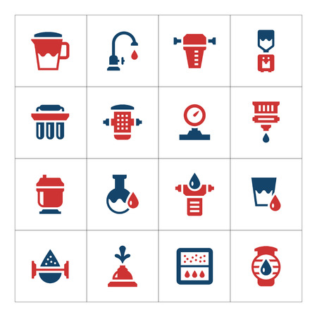 osmosis: Set color icons of water filters isolated on white. Vector illustration