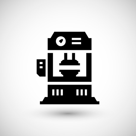 hydraulic: Hydraulic press machine icon isolated on grey. Vector illustration