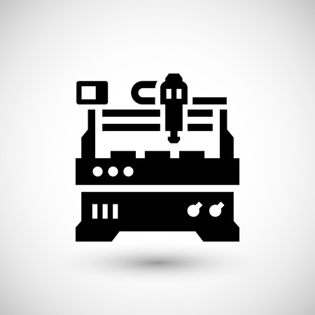 factory automation: Cnc milling machine icon isolated on grey. Vector illustration