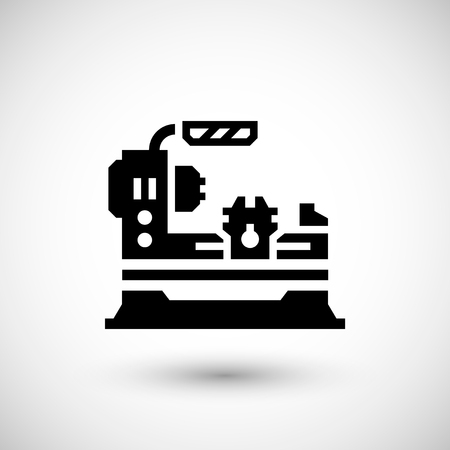 lathe: Lathe machine icon isolated on grey. Vector illustration