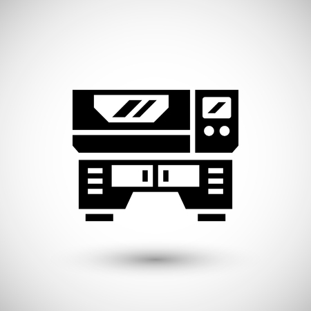 factory automation: Laser machine icon isolated on grey. Vector illustration