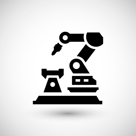 Robotic arm machine icon isolated on grey. Vector illustration Vettoriali