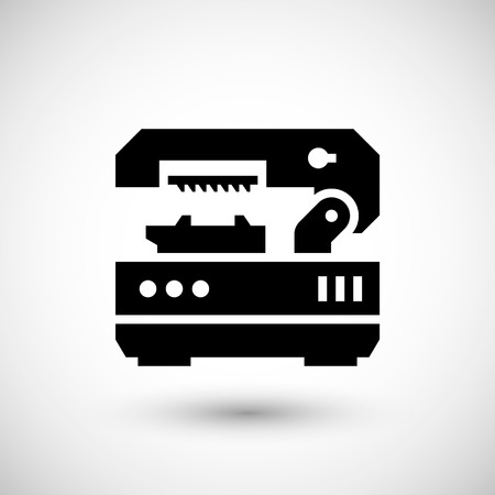 metal cutting: Metal cutting machine icon isolated on grey. Vector illustration