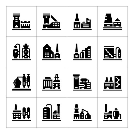 industria quimica: Fije los iconos de la fábrica aislados en blanco. ilustración vectorial