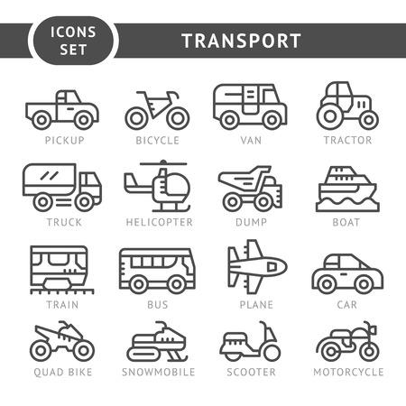 Zestaw ikon linii transportu samodzielnie na białym tle. Ilustracji wektorowych