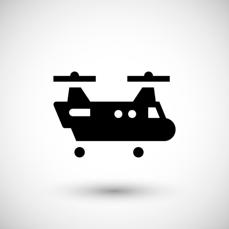 rotor: Dual rotor helicopter icon isolated on grey. Vector illustration