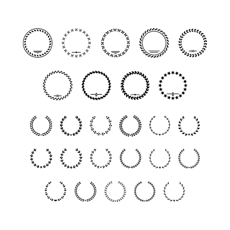 Set icons of laurel wreath and modern frames isolated on white. Vector illustration Vettoriali
