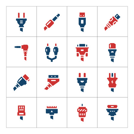 ethernet cable: Set color icons of plugs and connectors isolated on white. Vector illustration