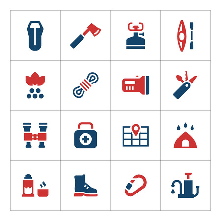 travel burner: Set color icons of camping isolated on white. Vector illustration