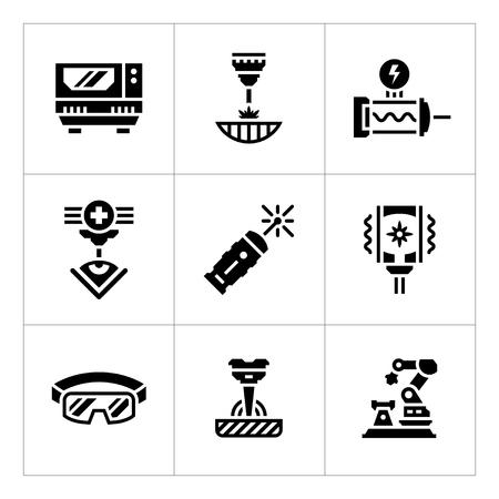 corte laser: Fije los iconos de láser aislados en blanco. ilustración vectorial