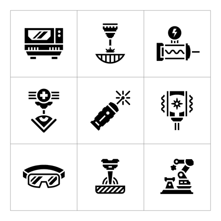 metal cutting: Set icons of laser isolated on white. Vector illustration