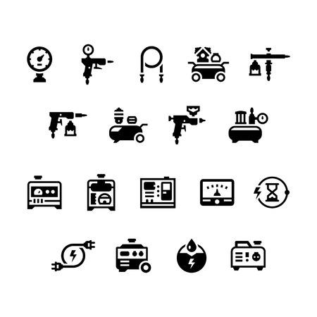 compresor: Fije los iconos del generador eléctrico y el compresor de aire aislado en blanco. ilustración vectorial Vectores
