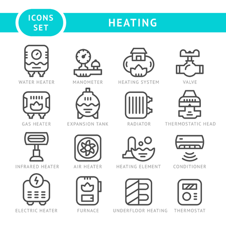 house icon: Set outline icons of heating isolated on white. Vector illustration Illustration