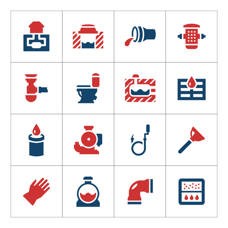 Set color icons of sewerage isolated on white. Vector illustration
