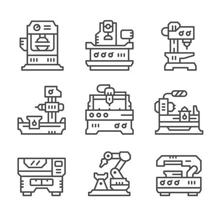 Zestaw ikon liniowe obrabiarki na białym. ilustracji wektorowych Ilustracje wektorowe