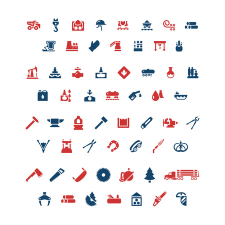 forge: Set color icons of industry. Metallurgical, oil, forge and sawmill icons. Vector illustration