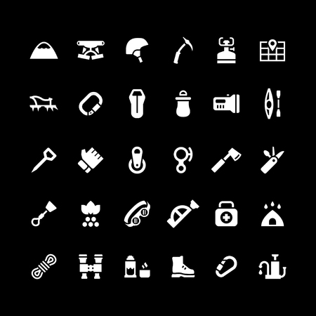 travel burner: Set icons of camping and mountaineering isolated on black. Vector illustration