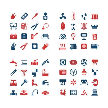 House systeem kleuren iconen. Set iconen van elektriciteit, verwarming, sanitair, ventilatie. vector illustratie