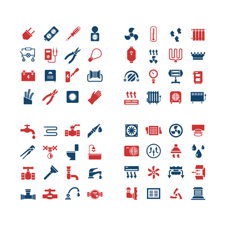 House system color icons. Set icons of electricity, heating, plumbing, ventilation. Vector illustration