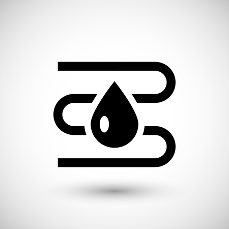 water heater: Water heating system icon isolated on grey. Vector illustration