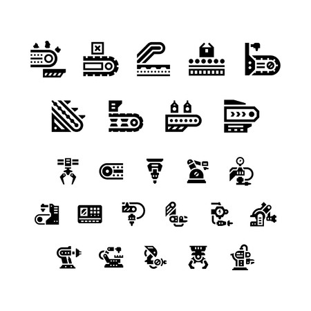 conveyor system: Set icons of conveyor and robotic industry isolated on white. Vector illustration