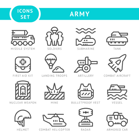 Set line icons of army isolated on white. Vector illustration