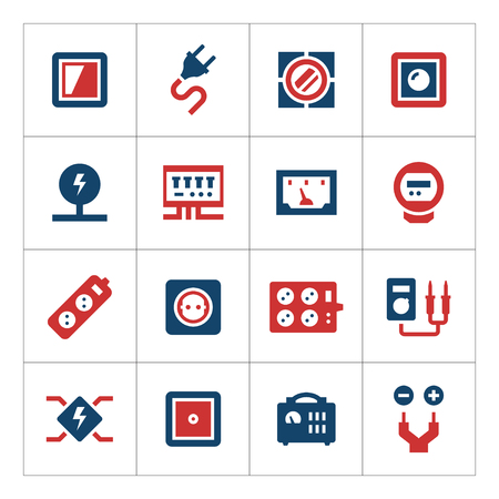 dimmer: Set color icons of electricity isolated on white. Vector illustration