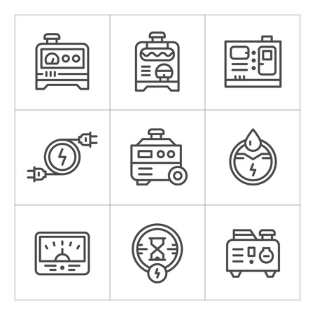 diesel generator: Set line icons of electrical generator isolated on white. Vector illustration