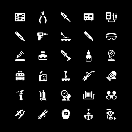 iron: Set icons of welding and soldering isolated on black. Vector illustration Illustration