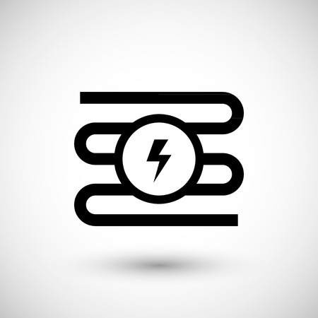 electric system: Electric heating system icon isolated on grey. Vector illustration Illustration