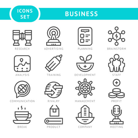 line vector: Set line icons of business isolated on white. Vector illustration