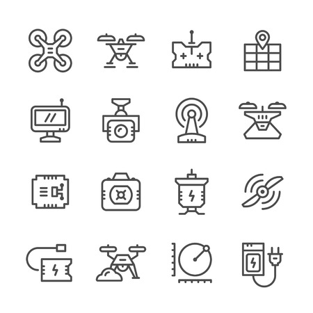 remote: Set line icons of quadrocopter, hexacopter, multicopter and drone isolated on white. Vector illustration Illustration