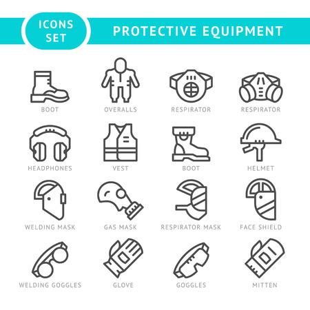 elementos de protecci�n personal: Fije los iconos de la l�nea de equipos de protecci�n aislados en blanco. ilustraci�n vectorial Vectores