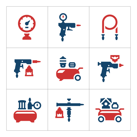 compressed air hose: Set color icons of compressor and accessories isolated on white. Vector illustration Illustration