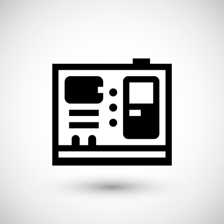 diesel generator: Electric generator icon isolated on grey. Vector illustration