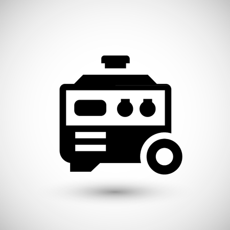 standby: Electric generator icon isolated on grey. Vector illustration
