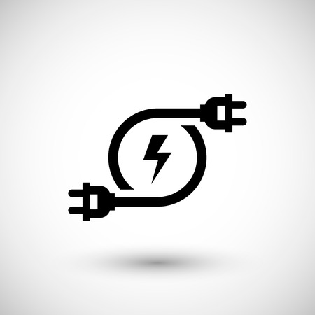 Electricity icon isolated on grey. Vector illustration