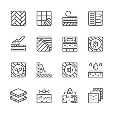 Set lijn iconen van de vloer geïsoleerd op wit. vector illustratie