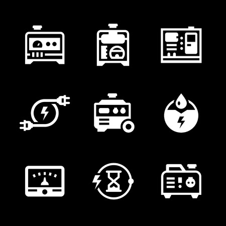 diesel generator: Set icons of electrical generator isolated on black. Vector illustration