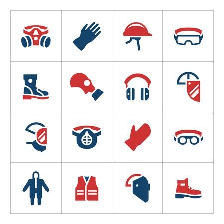 aparatos electricos: Fije los iconos de color de equipo de protección personal aislado en blanco. ilustración vectorial