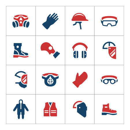 equipment: Set color icons of personal protective equipment isolated on white. Vector illustration Illustration