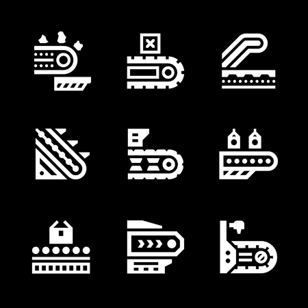 conveyor: Set icons of conveyor isolated on black. Vector illustration Illustration