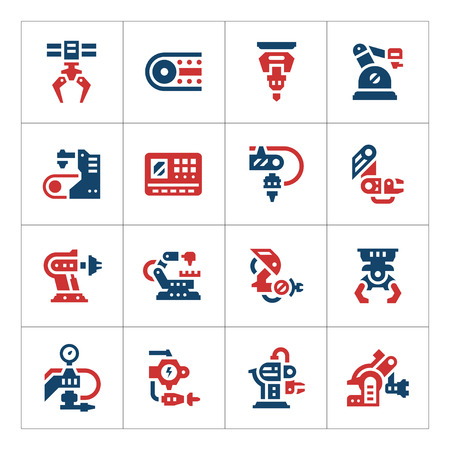 Set kleur iconen van de robotindustrie geïsoleerd op wit. Vector illustratie Stock Illustratie