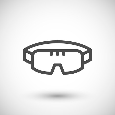 protective goggles: Protective goggles line icon isolated on grey. Vector illustration