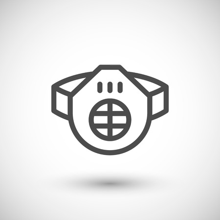 respirator: Protective respirator line icon isolated on grey. Vector illustration