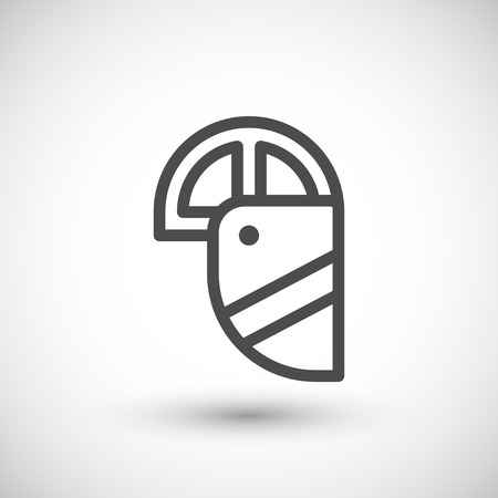 protective eyewear: Face shield line icon isolated on grey. Vector illustration