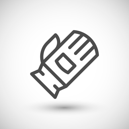 protective glove: Protective glove line icon isolated on grey. Vector illustration Illustration