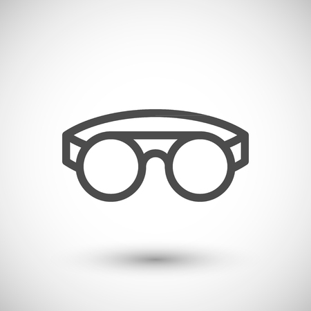 protective: Protective welding goggles line icon isolated on grey. Vector illustration Illustration