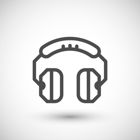 Headphones line icon isolated on grey. Vector illustration