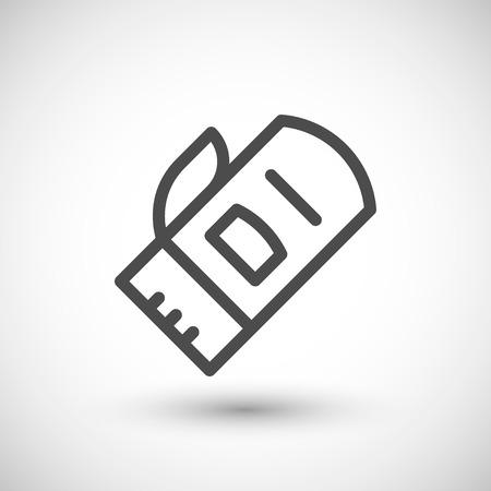 mitten: Protective mitten line icon isolated on grey. Vector illustration